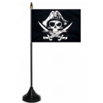 Pirate Crossed Sabres Desk / Table Flag with plastic stand and base